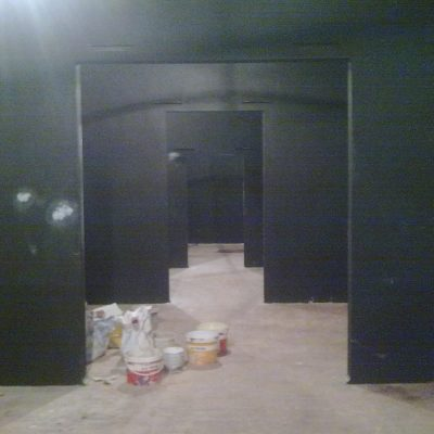 Black matte paint on walls