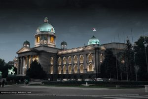 Parliament of Serbia. Facade illumination. By Nebojsa Radivojevic.